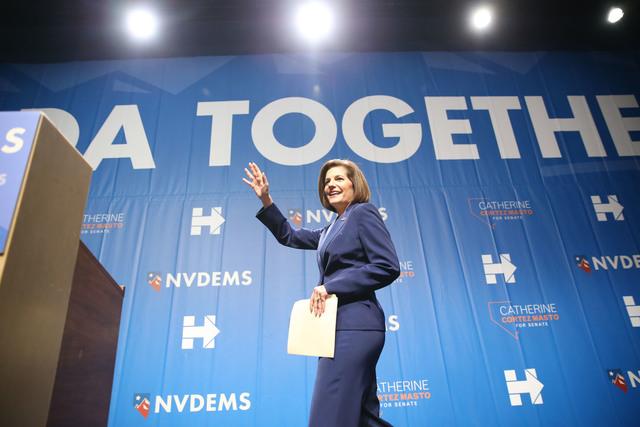 U.S. Senator elect Catherine Cortez takes the stage during the Nevada State Democratic Party at Aria Hotel-Casino in Las Vegas, Tuesday, Nov. 8, 2016. Erik Verduzco/Las Vegas Review-Journal Follow ...