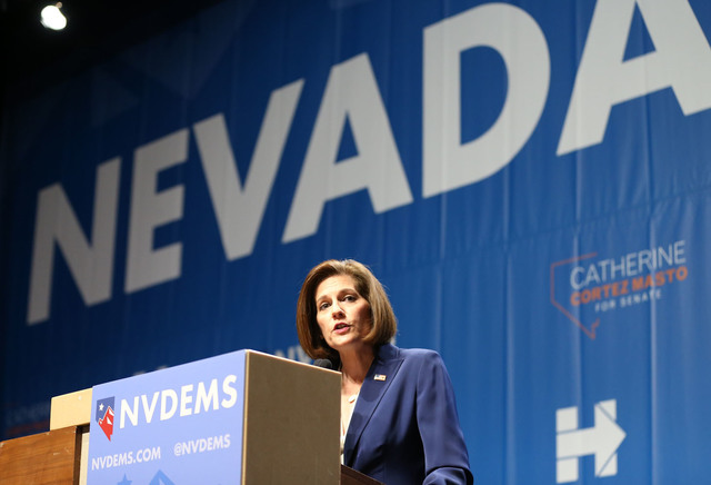U.S. Senator elect Catherine Cortez speaks during the Nevada State Democratic Party at Aria Hotel-Casino in Las Vegas, Tuesday, Nov. 8, 2016. Erik Verduzco/Las Vegas Review-Journal Follow @Erik_Ve ...