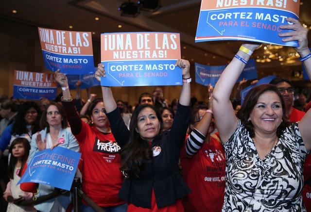 Attendees cheer on U.S. Senator elect Catherine Cortez during the Nevada State Democratic Party at Aria Hotel-Casino in Las Vegas, Tuesday, Nov. 8, 2016. Erik Verduzco/Las Vegas Review-Journal Fol ...