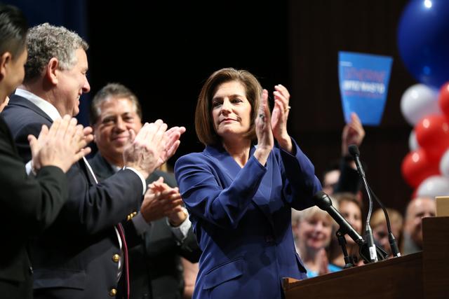 U.S. Senator elect Catherine Cortez addresses the crowd during the Nevada State Democratic Party at Aria Hotel-Casino in Las Vegas, Tuesday, Nov. 8, 2016. Erik Verduzco/Las Vegas Review-Journal Fo ...