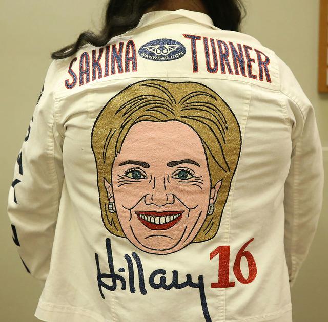Sakina Turner of Las Vegas shows of her Hillary Clinton jacket before the Nevada State Democratic Party at Aria Hotel-Casino in Las Vegas, Tuesday, Nov. 8, 2016. Erik Verduzco/Las Vegas Review-Jou ...