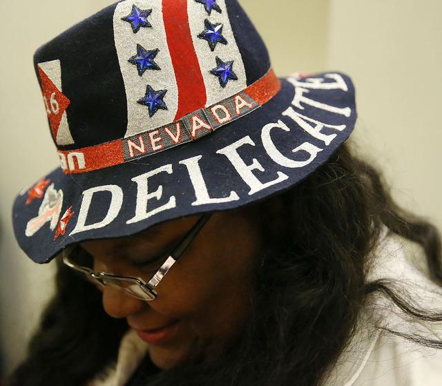 Sakina Turner of Las Vegas shows of her Democratic themed hat before the Nevada State Democratic Party at Aria Hotel-Casino in Las Vegas, Tuesday, Nov. 8, 2016. Erik Verduzco/Las Vegas Review-Jour ...