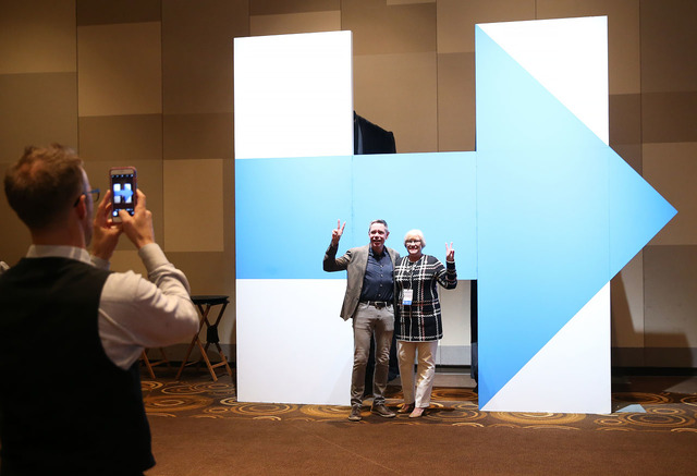 Bill Jacobs, member of the Democratic National Committee LGBT Leadership Council and Nevada Democratic Party Chair Roberta Lange pose for a photo during the Nevada State Democratic Party at Aria H ...