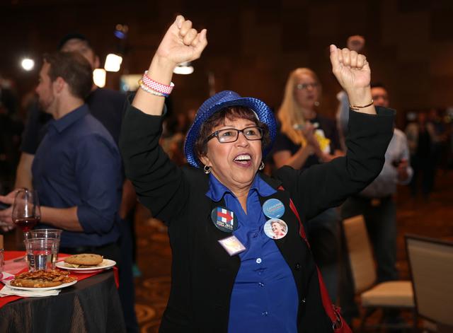 Margarita Rebollal of Las Vegas celebrates an early election result during the Nevada State Democratic Party at Aria Hotel-Casino in Las Vegas, Tuesday, Nov. 8, 2016. Erik Verduzco/Las Vegas Revie ...