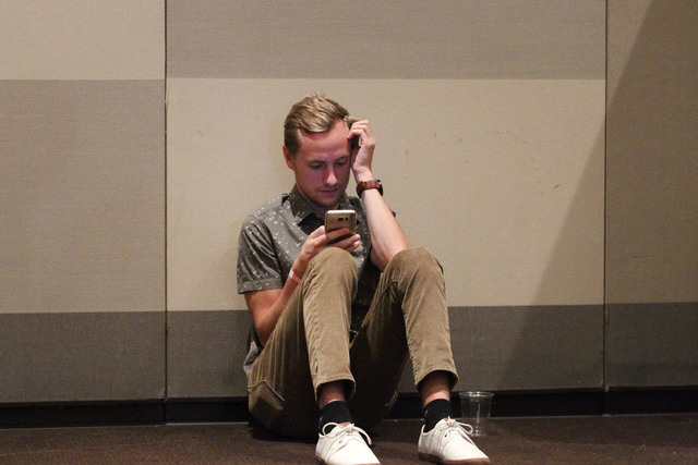 An attendee who wished to be unidentified sits alone during the Nevada State Democratic Party at Aria Hotel-Casino in Las Vegas, Tuesday, Nov. 8, 2016. Erik Verduzco/Las Vegas Review-Journal Follo ...