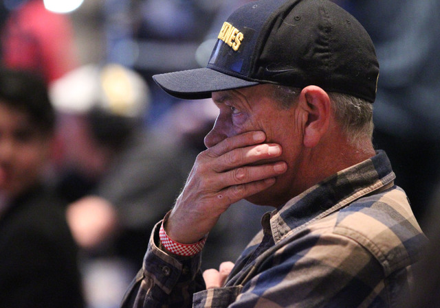 Bob Ihrig of Las Vegas reacts to election results during the Nevada State Democratic Party at Aria Hotel-Casino in Las Vegas, Tuesday, Nov. 8, 2016. Erik Verduzco/Las Vegas Review-Journal Follow @ ...