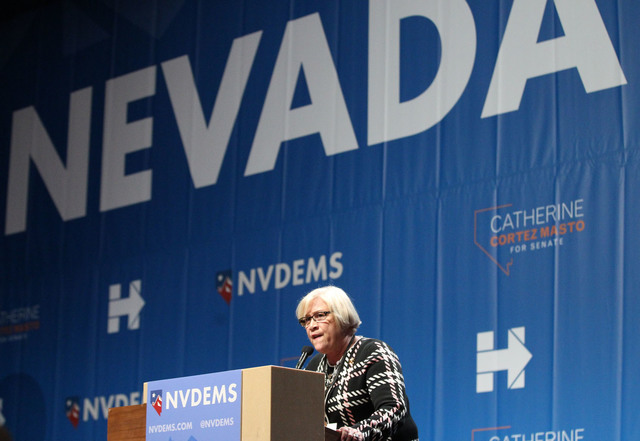 Nevada State Democratic Party Chairwoman Loreta Lange speaks during the Nevada State Democratic Party at Aria Hotel-Casino in Las Vegas, Tuesday, Nov. 8, 2016. Erik Verduzco/Las Vegas Review-Journ ...