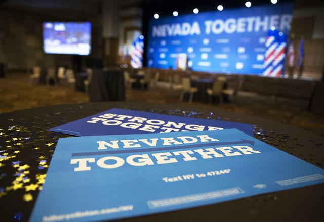 Democratic signs sit ready for use before the Nevada State Democratic Party at Aria Hotel-Casino in Las Vegas, Tuesday, Nov. 8, 2016. Erik Verduzco/Las Vegas Review-Journal Follow @Erik_Verduzco