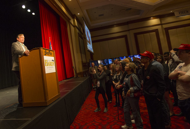 U.S. Rep. Crecent Hardy, R-Nev. delivers his concession speech during an election night event hosted by the Nevada Republican Party at South Point hotel-casino on Tuesday, Nov. 8, 2016. Richard Br ...