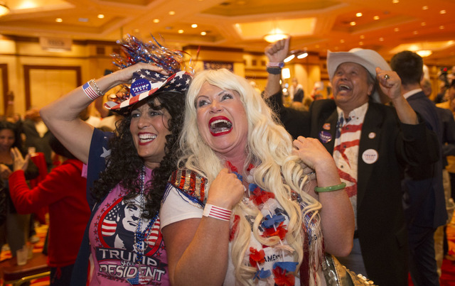 Diana Caldon, left, and Stephanie Smith react as Donald Trump is announced President during an election night event hosted by the Nevada Republican Party at South Point hotel-casino on Tuesday, No ...