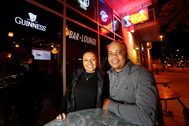 Classic Jewel co-owners Jerome Harry and his wife Sherri Lewis pose for a photo in front of their bar at The Juhl in downtown Las Vegas, Monday, Nov. 28, 2016. Chitose Suzuki/Las Vegas Review-Journal