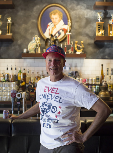 Kelly Knievel, the son of Evel Knievel, poses for a portrait at his restaurant Evel Pie, which he co-owns with Branden Powers on Fremont Street in Las Vegas on Tuesday, Nov. 22, 2016. Brett Le Bla ...