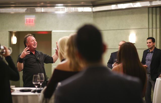 Kevin Harvey, in charge of audio at Cabaret Jazz, speaks during a Fanfare networking event ahead of a performance at the venue at the Smith Center for the Performing Arts in Las Vegas on Tuesday,  ...