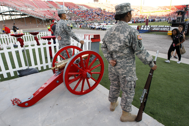 The Fremont Cannon stands in the south end zone during the second half of UNLV's Mountain West Conference game against Air Force Saturday, Nov. 8, 2014 at Sam Boyd Stadium. Air Force won 48-21. (S ...