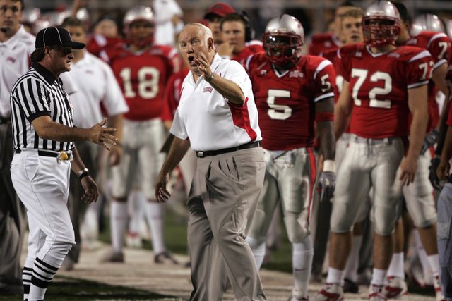 UNLV Head Coach John Robinson argues a call after watching the replay while playing against Nevada in the 1st quarter at Sam Boyd Stadium Saturday, Oct. 2, 2004. (RJ Photo/K.M. Cannon)