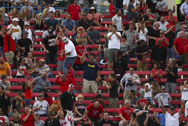 UNLV fans cheer after a touchdown by UNLV quarterback Kurt Palandech (14) during a football game against Wyoming at Sam Boyd Stadium in Las Vegas on Saturday, Nov. 12, 2016. UNLV defeated Wyoming  ...