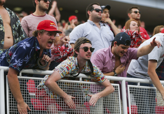 UNLV fans cheer during a football game against Wyoming at Sam Boyd Stadium in Las Vegas on Saturday, Nov. 12, 2016. UNLV defeated Wyoming 69-66 in triple overtime. Chase Stevens/Las Vegas Review-J ...