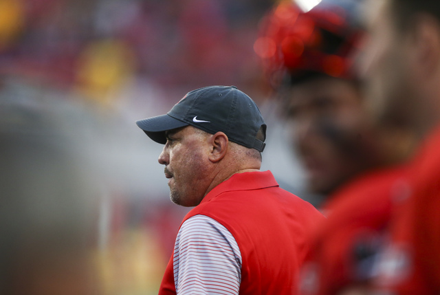 UNLV head coach Tony Sanchez looks on during a football game against Wyoming at Sam Boyd Stadium in Las Vegas on Saturday, Nov. 12, 2016. UNLV defeated Wyoming 69-66 in triple overtime. Chase Stev ...