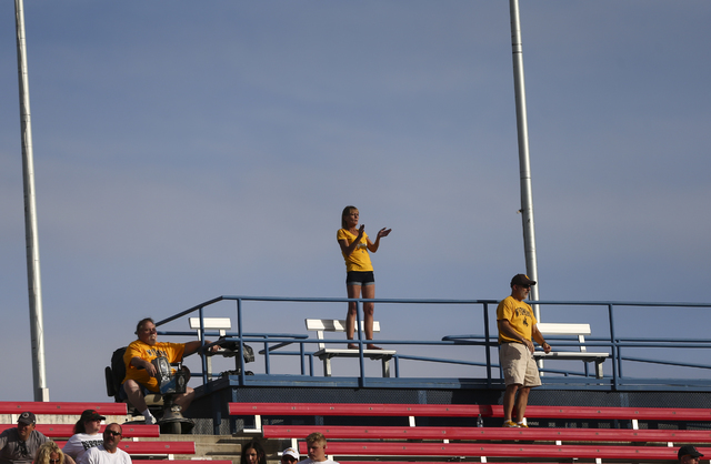 Wyoming fans cheer during a football game against UNLV at Sam Boyd Stadium in Las Vegas on Saturday, Nov. 12, 2016. UNLV defeated Wyoming 69-66 in triple overtime. Chase Stevens/Las Vegas Review-J ...