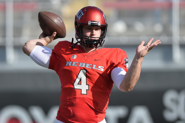 UNLV Rebels quarterback Johnny Stanton (4) warms up before the UNLV Nevada football game at Sam Boyd Stadium in Las Vegas on Saturday, Nov. 26, 2016. Brett Le Blanc/Las Vegas Review-Journal Follow ...