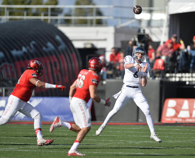 Nevada Wolf Pack quarterback Ty Gangi (6) throws the ball during the UNLV Nevada football game at Sam Boyd Stadium in Las Vegas on Saturday, Nov. 26, 2016. Brett Le Blanc/Las Vegas Review-Journal  ...