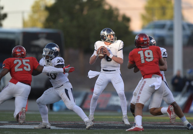 Nevada Wolf Pack quarterback Ty Gangi (6) looks for an open receiver during the UNLV Nevada football game at Sam Boyd Stadium in Las Vegas on Saturday, Nov. 26, 2016. Brett Le Blanc/Las Vegas Revi ...