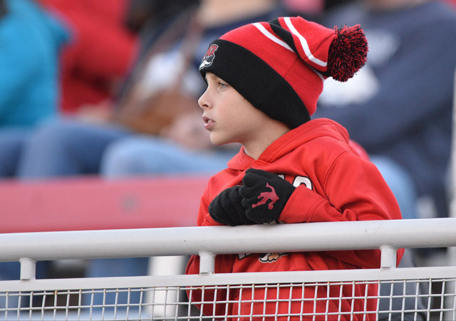 An UNLV Rebels fan watches the UNLV Nevada football game at Sam Boyd Stadium in Las Vegas on Saturday, Nov. 26, 2016. Brett Le Blanc/Las Vegas Review-Journal Follow @bleblancphoto