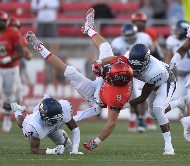 UNLV Rebels tight end Trevor Kanteman (9) is tossed into the air during the UNLV Nevada football game at Sam Boyd Stadium in Las Vegas on Saturday, Nov. 26, 2016. Brett Le Blanc/Las Vegas Review-J ...