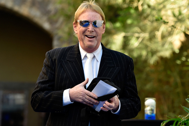 Oakland Raiders owner Mark Davis arrives at the Gridiron Greats Hall of Fame Induction dinner at the Silverton hotel-casino Friday, June 3, 2016, in Las Vegas. (David Becker/Las Vegas Review-Journ ...