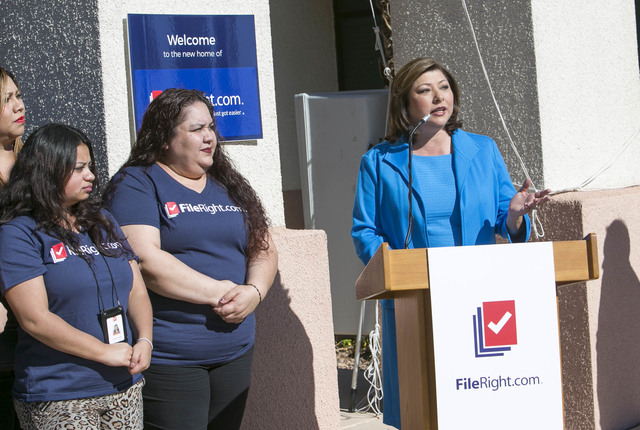 Henderson Councilwoman Gerri Schroder, right, speaks during the grand opening of FileRight's Henderson office on Monday, Nov. 14, 2016. (Richard Brian/Las Vegas Review-Journal Follow @vegasphotograph)