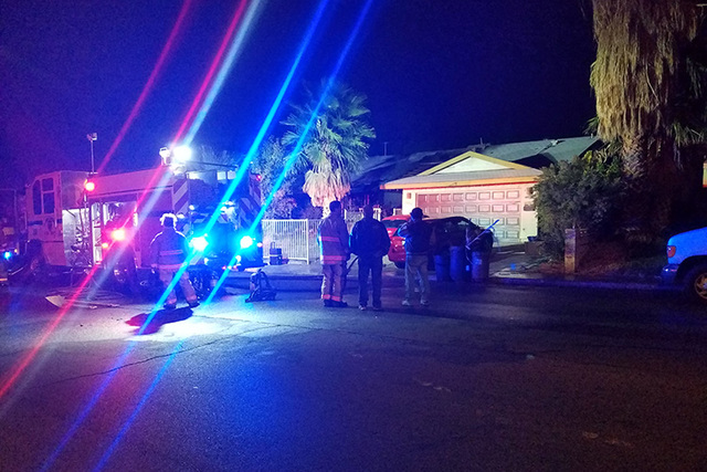 A dog died in a house fire in the southeast valley late Tuesday.  (Mike Shoro/Las Vegas Review-Journal)