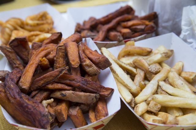 Sweet potatoes, curly fries and french fries from VegeWay in Las Vegas. VegeWay made its debut in September as the first vegan drive-thru in Las Vegas. Erik Verduzco/View Follow @Erik_Verduzco