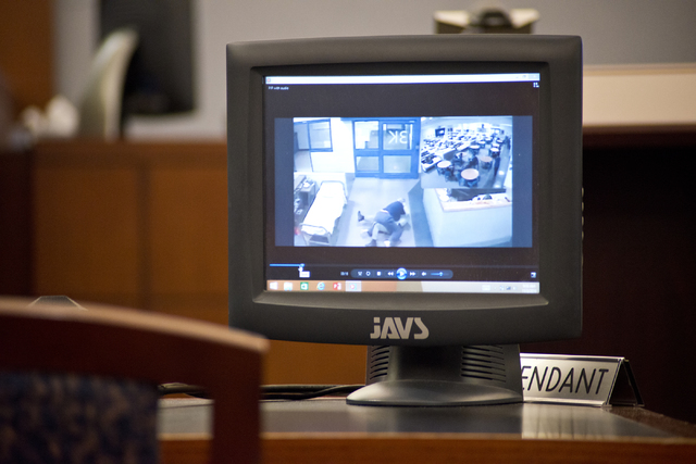 A video showing an altercation between a corrections officer and David Frostick, who was convicted in the 2009 murder of his girlfriend, Robin Lesley Jenkins, is played during court proceedings at ...