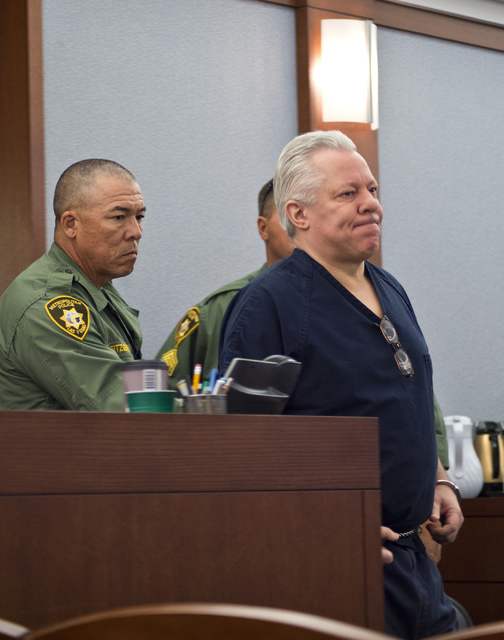 David Frostick, who was convicted in the 2009 murder of his girlfriend, Robin Lesley Jenkins, is led into the courtroom at the Regional Justice Center in downtown Las Vegas on Wednesday, Nov. 2, 2 ...