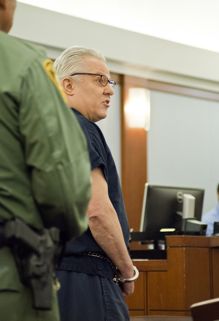David Frostick, who was convicted in the 2009 murder of his girlfriend, Robin Lesley Jenkins, speaks on his behalf during court proceedings at the Regional Justice Center in downtown Las Vegas on  ...