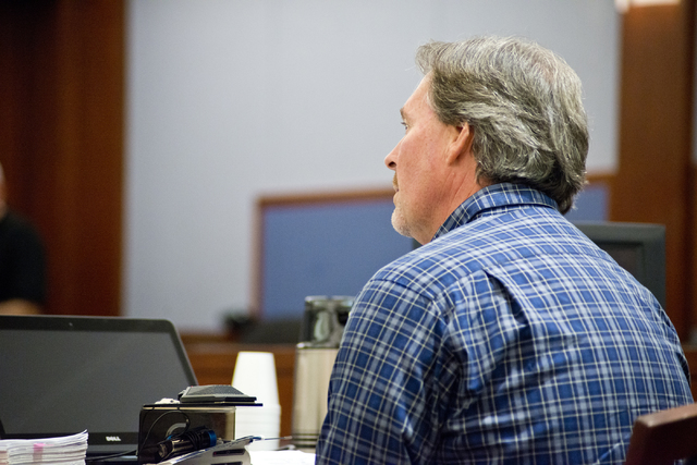 William Smith gives testimony regarding how the 2009 murder of Robin Lesley Jenkins by David Frostick has affected him and his family at the Regional Justice Center in downtown Las Vegas on Wednes ...