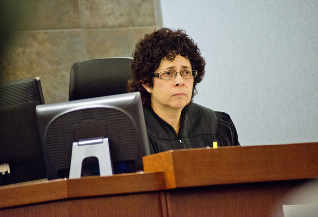 District Judge Elissa Cadish listens to testimony regarding how the 2009 murder of Robin Lesley Jenkins by David Frostick has affected the family during court proceedings at theRegional Justice Ce ...