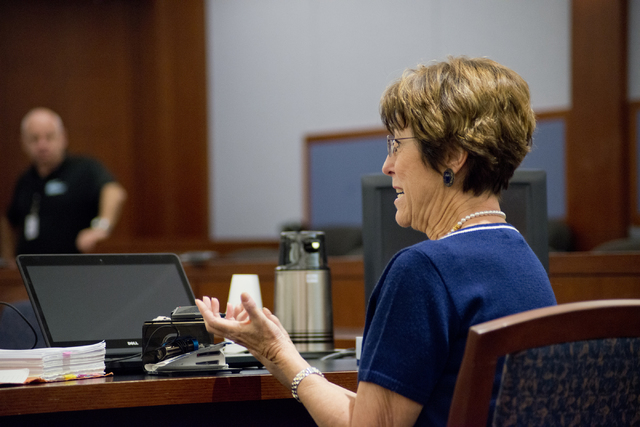 Carolyn Ranch gives testimony regarding how the 2009 murder of Robin Lesley Jenkins by David Frostick has affected her during court proceedings at the Regional Justice Center in downtown Las Vegas ...