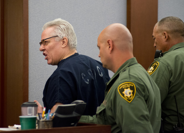 David Frostick, who was convicted in the 2009 murder of his girlfriend, Robin Lesley Jenkins, is led out of the courtroom after proceedings at the Regional Justice Center in downtown Las Vegas on  ...