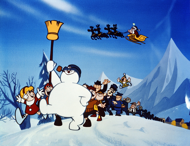 """FROSTY THE SNOWMAN -- Frosty, that """"jolly, happy soul"""" whose old silk hat full of magic has turned him into a musical Christmas legend, once again demonstrates his unique showmanship in FROSTY THE ..."""