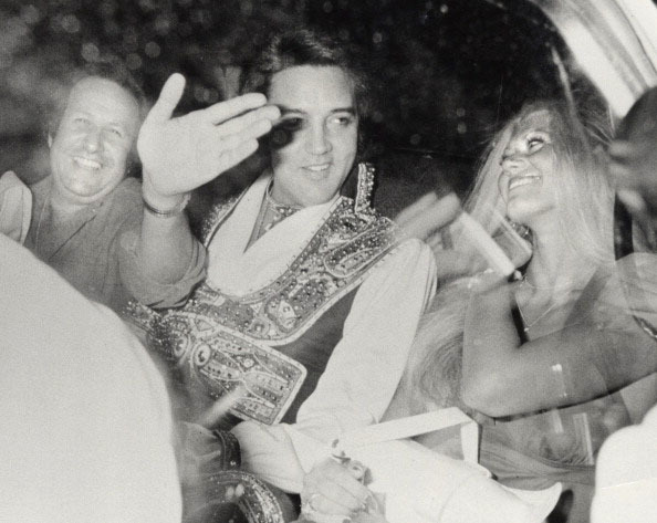 Elvis Presley, Diane Goodman and Joe Esposito during Elvis Presley Departing His hotel For Nassau Coliseum at Hilton Garden Inn at JFK Airport in New York City, New York, United States. (Photo by  ...