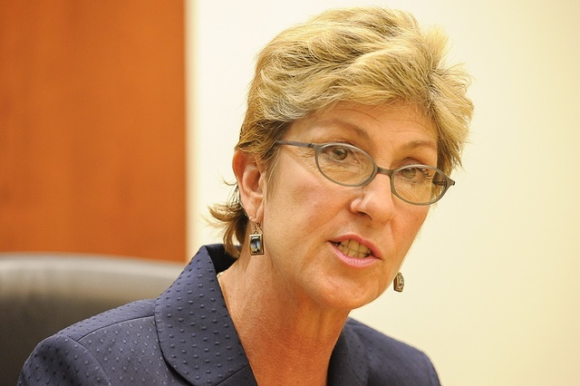 Chris Giunchigliani speaks with the Review-Journal editorial board on Friday, Sept. 12, 2014. (Mark Damon/Las Vegas Review-Journal)