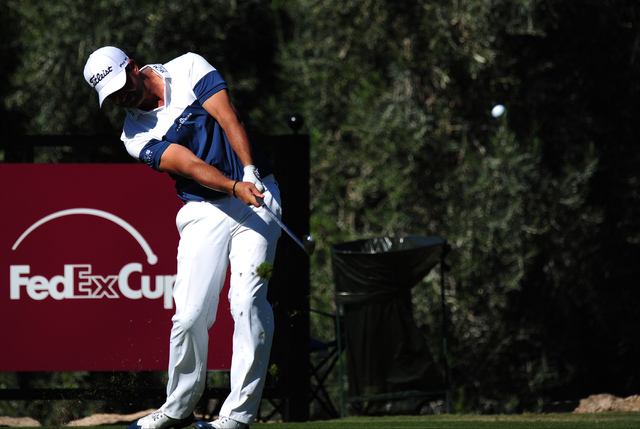 PGA golfer Scott Piercy tees off at the 14th hole during the Shriners Hospitals for Children Open at TPC Summerlin in Las Vegas Saturday, Nov. 5, 2016. Josh Holmberg/Las Vegas Review-Journal