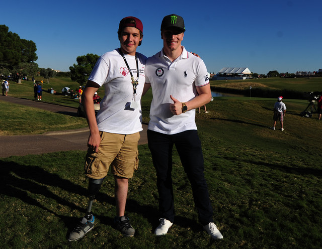 USA BMX Olympian Connor Fields poses for a photo with Diego Zuniga Costa during the Shriners Hospitals for Children Open at TPC Summerlin in Las Vegas Saturday, Nov. 5, 2016. Josh Holmberg/Las Veg ...