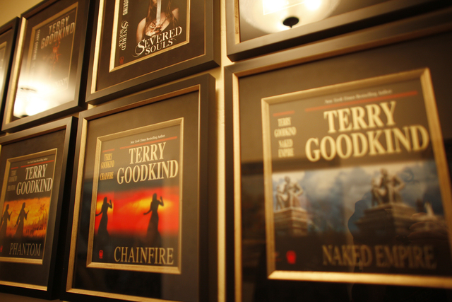 Book covers are seen at the home of Author Terry Goodkind on Sunday, Nov. 20, 2016, in in Southern Nevada. (Rachel Aston/Las Vegas Review-Journal Follow @rookie__rae)