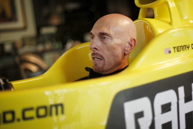 Author Terry Goodkind uses a racer simulator at his home on Sunday, Nov. 20, 2016, in Southern Nevada. (Rachel Aston/Las Vegas Review-Journal Follow @rookie__rae)