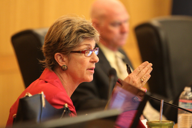 Clark County Commissioner Chris Giunchigliani speaks during a discussion on court-appointed guardianships at the Clark County Commission chambers in Las Vegas Tuesday, April 21, 2015. (Erik Verduz ...