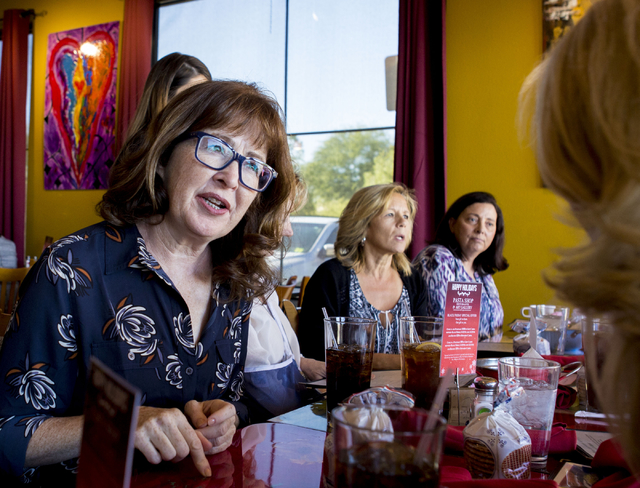 Laura McBride, author and member of a Henderson Giving Circle, gets together during the circle's monthly meeting, Friday, Nov. 18, 2016, in Henderson at the restaurant  Pasta Shop. Elizabeth Page  ...