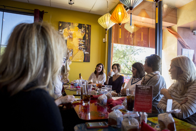 A Giving Circle, which meets monthly, talk about where they will give their monthly donation over lunch at Pasta Shop in Henderson, Friday, Nov. 18, 2016. Elizabeth Page Brumley/Las Vegas Review-J ...