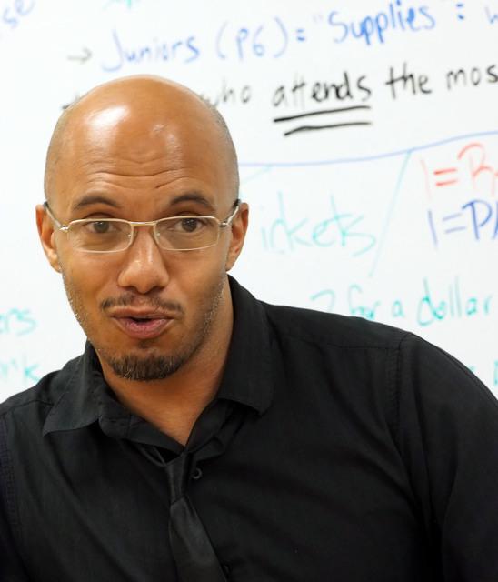 Brandon Singleton teaches the Jobs of America's Graduates (JAG) class at Las Vegas High School Oct. 19, 2016. Jerry Henkel/View